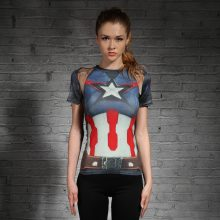 Captain america/Spider-man girl fitness T-shirts