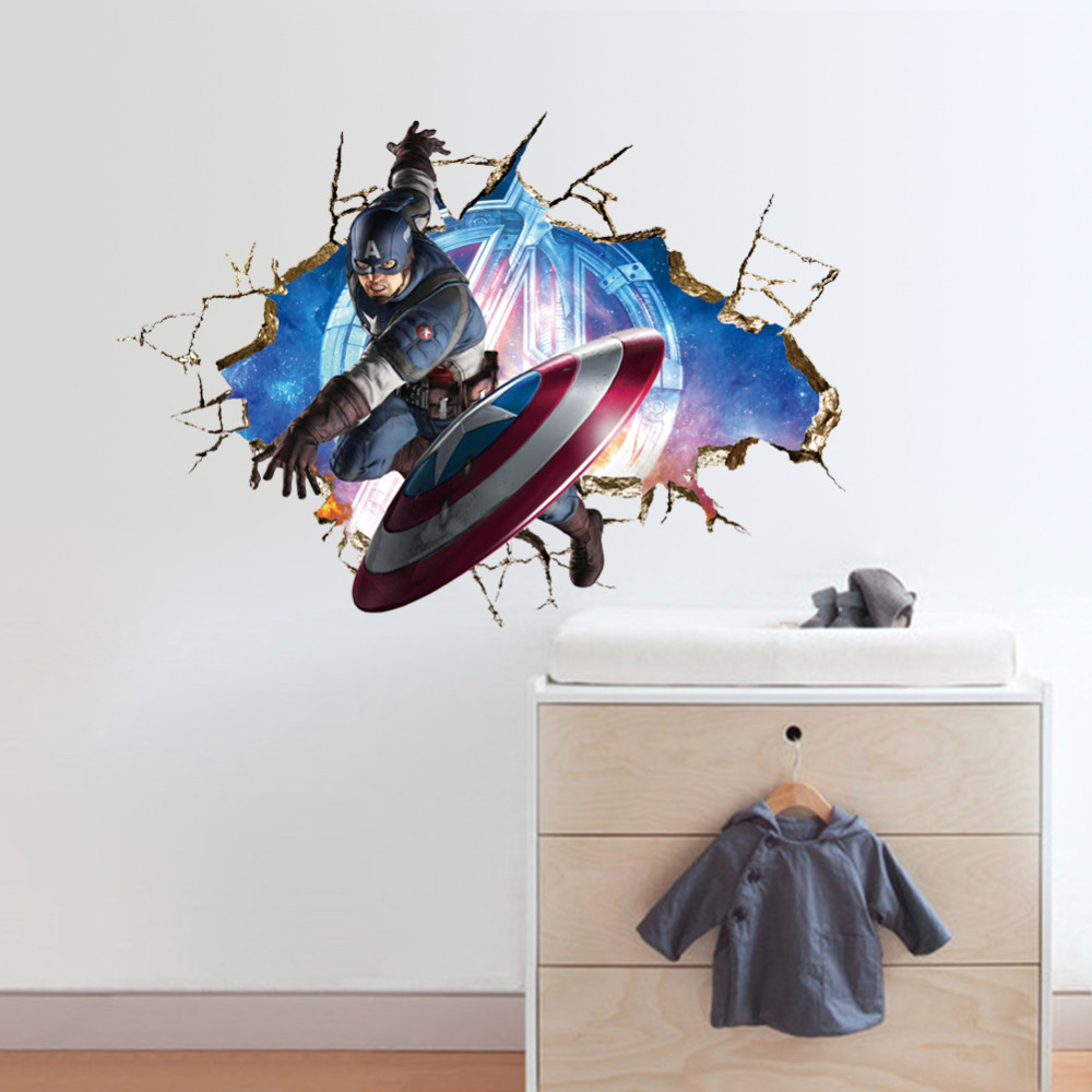 & Captain America 3D Wall Sticker